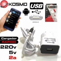 Cargador Kosmo 2A Micro usb...